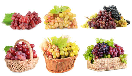Assortment of ripe sweet grape isolated on white photo