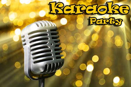 karaoke bar: Silver retro microphone on golden festive background, Karaoke party concept