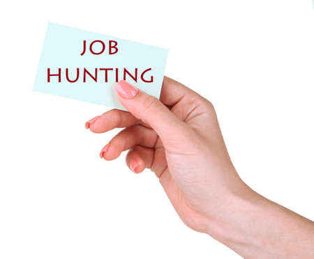 job hunting: Job Hunting text on card in hand isolated on white Stock Photo