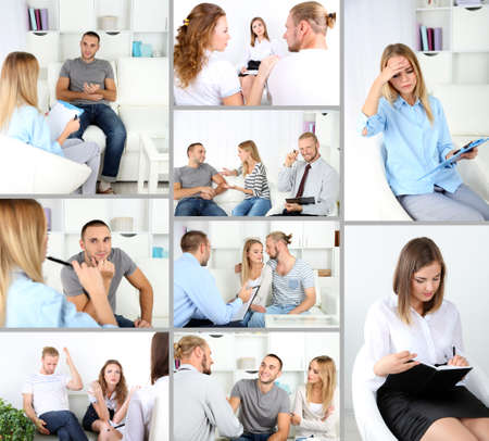 Collage of psychologist consulting photo