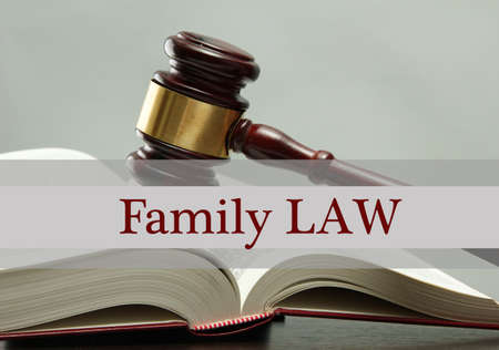 adjourned: Judges gavel on book and Family LAW text on gray background