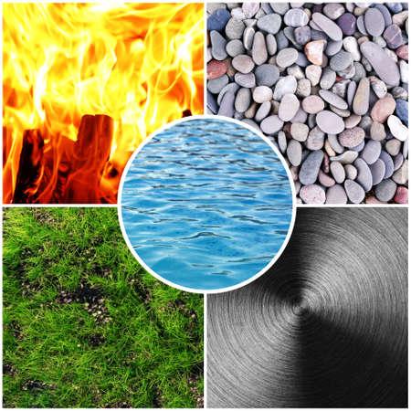 다섯 가지 요소 (물, 나무, 불, 흙, 금속)와 풍수 파괴적인 사이클의 콜라주