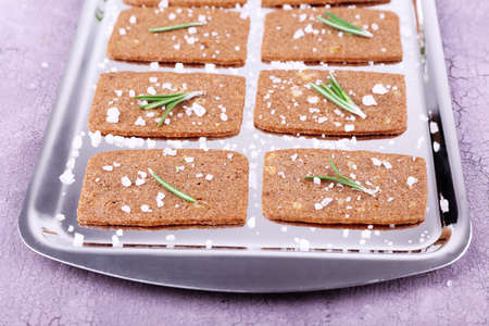 sprigs: Crispbread with salt and sprigs of rosemary on metal tray and color wooden background