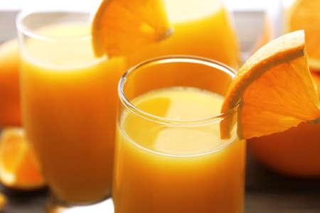 Freshly squeezed orange juice, close-up photo