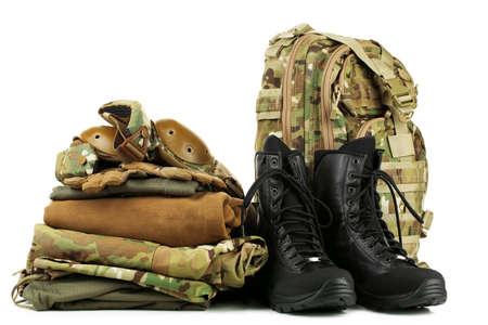 Uniformes de ejército, aislado en blanco Foto de archivo