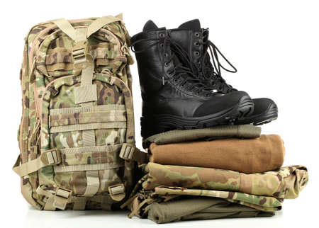 army boots: Army uniform, isolated on white Stock Photo