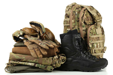 leather gloves: Army uniform, isolated on white Stock Photo
