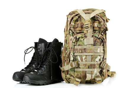 army boots: Black army boots and backpack, isolated on white Stock Photo