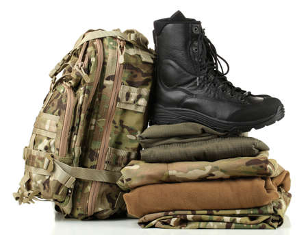 uniform green shoe: Army uniform, isolated on white Stock Photo