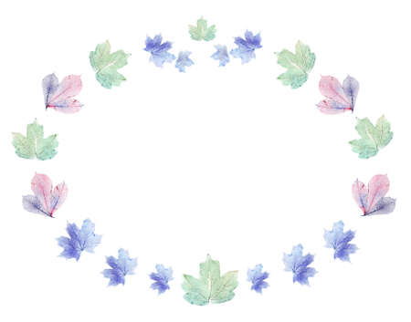 Delicate colored leaves shaped as frame with space for your text photo