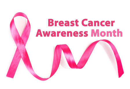 cancer symbol: Pink breast cancer ribbon isolated on white, Breast Cancer Awareness Month Concept