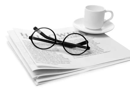 everyday jobs: Glasses and newspapers, isolated on white Stock Photo