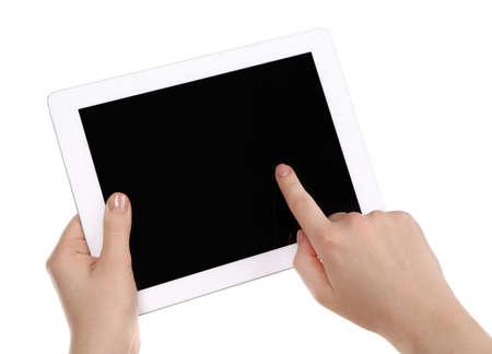 typing: Manos sosteniendo Tablet PC aislado en blanco