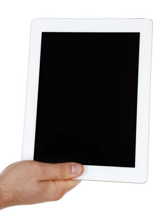 Hand holding tablet PC isolated on white photo