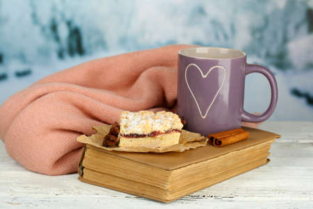 Beautiful composition with cup of hot drink photo