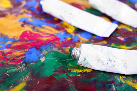 paint strokes: Colorful abstract paint strokes on canvas background