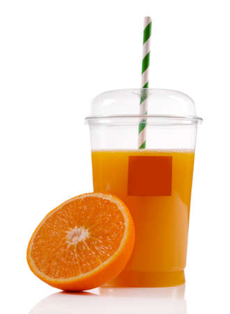 ices: Orange juice in fast food closed cup with tube and slice of orange isolated on white