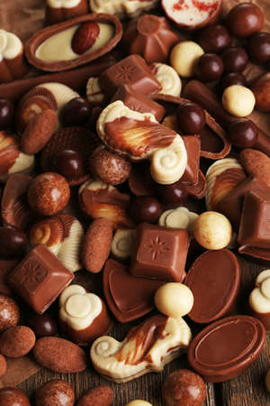 kinds: Different kinds of chocolates close-up background