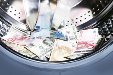 argent: Argent dans un lave-linge, vue en gros plan