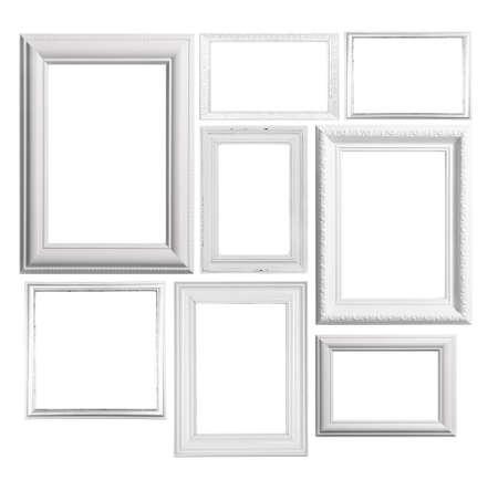 marco madera: Collage de marcos aislado en blanco