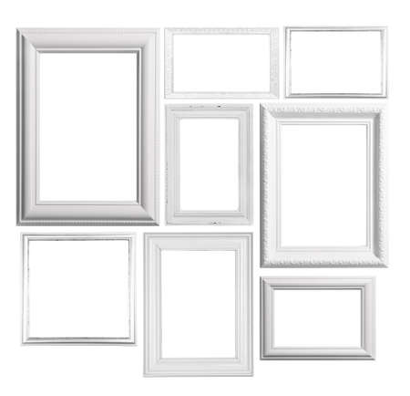 picture frame on wall: Collage of frames isolated on white