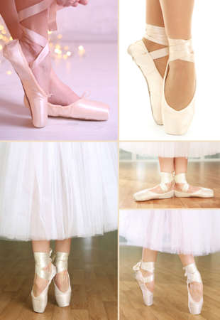 pointes: Collage of ballerina legs in pointes in dancing hall