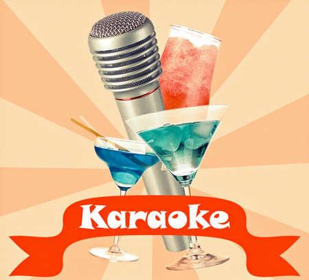 karaoke bar: Silver microphone and cocktails on color retro background, Karaoke concept