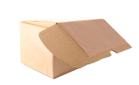 stockpiling: Brown cardboard box isolated on white