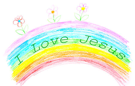 childs: Childs drawing, I love Jesus text writing on rainbow