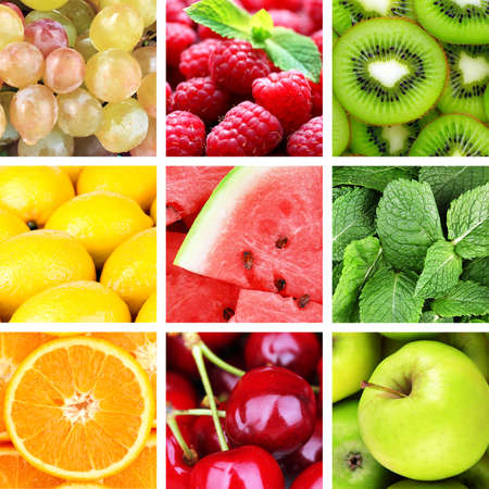 Fruits and berries in colorful collage Stock Photo