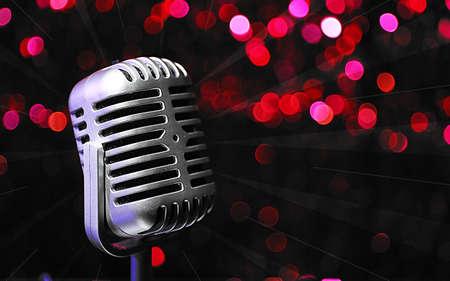 Retro microphone on bright background, Karaoke concept photo
