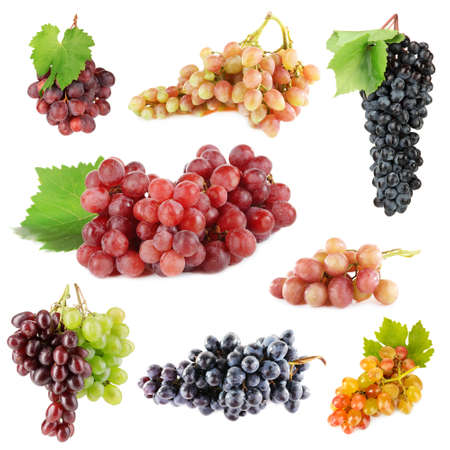 purple red grapes: Assortment of ripe sweet grape isolated on white