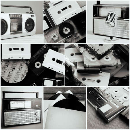 dancefloor: Vinyl records, audio cassettes, microphone, tape recorder and radio set in collage Stock Photo