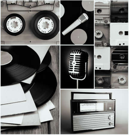 vinyl records: Vinyl records, audio cassettes, microphone and radio set in collage