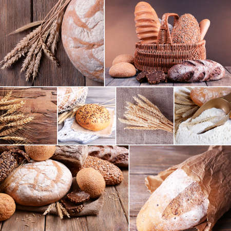 gold table cloth: Wheat and bread collage