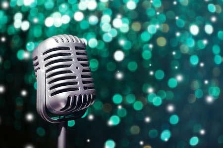 karaoke bar: Retro microphone on bright background, Karaoke concept