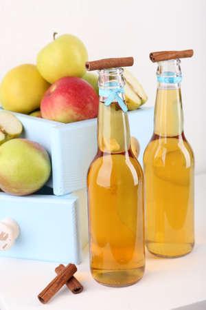 cider: Still life with tasty apple cider and fresh apples