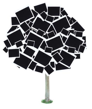 big tree: Big tree made of photo cards isolated on white Stock Photo