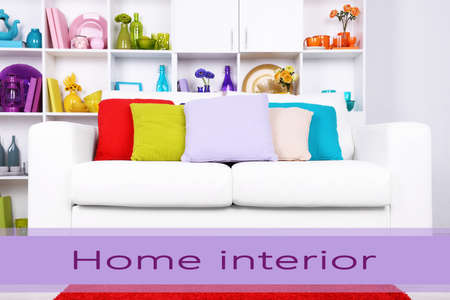 Modern interior design. White living room with sofa and bookcase. Home interior concept photo