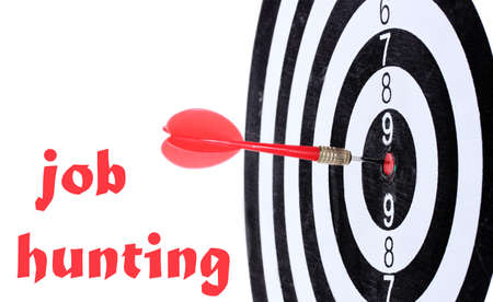 job hunting: Dart board and Job Hunting text on background isolated on white