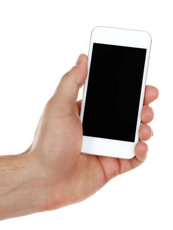 Hand holding mobile smart phone isolated on white photo