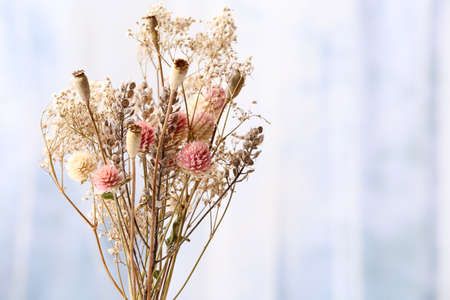 Bouquet of dried flowers in vase on light background photo