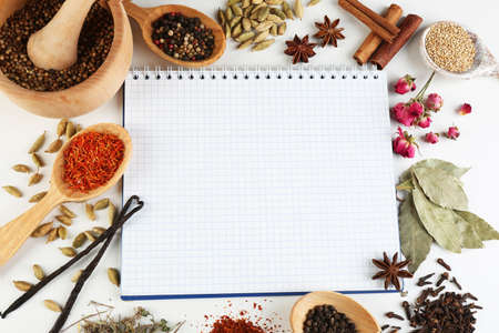 Spices with recipe book on white background Standard-Bild