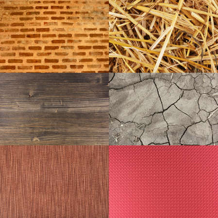 Assortment of different textures in collage, mix of textures as background photo