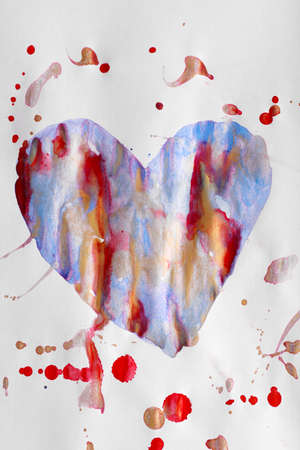 redness: Painted heart over white paper background