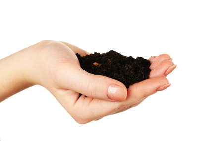 handful: Handful of soil isolated on white Stock Photo