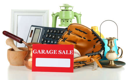 baseball stuff: Unwanted things ready for a garage sale, isolated on white