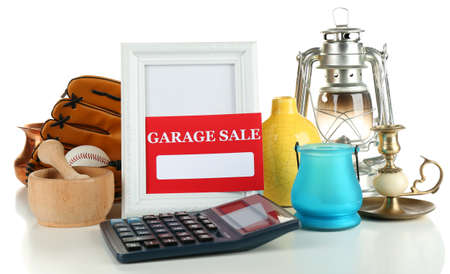 garage sale: Unwanted things ready for a garage sale, isolated on white