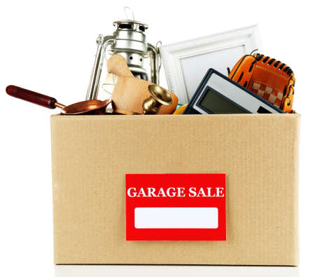 Box of unwanted stuff ready for a garage sale, isolated on white Zdjęcie Seryjne - 36756695