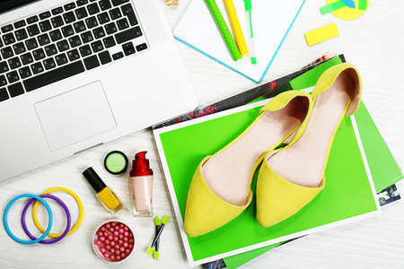 Fashion blog concept. Still life of fashion creative space photo